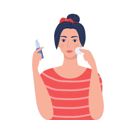 Young woman cleaning her face with cotton pad, holding cleaning lotion in her hand. Beauty, skin care and cosmetic concept. Vector illustration in flat style