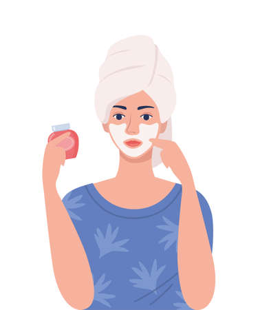 Young woman with a towel on her head makes cosmetic procedures. Face mask, skincare, treatment, relaxation. Skin care concept. Vector illustration