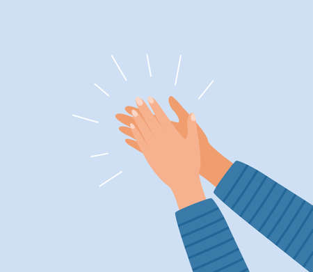 Human hands clapping. Applauding hands. Expression of approval, admiration, support, gratitude, recognition. Vector illustration in flat style Vettoriali