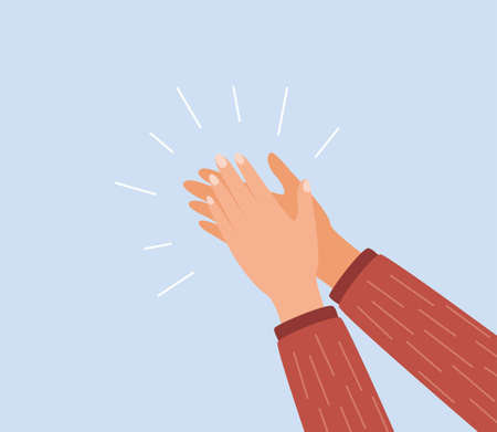 Human hands clapping. Applauding hands. Expression of approval, admiration, support, gratitude, recognition. Vector illustration in flat style Ilustração