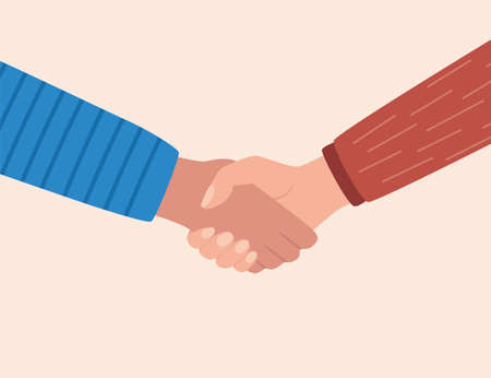 Shaking hands, symbol of success deal, happy partnership, greeting shake, casual handshaking agreement. Vector illustration in flat style