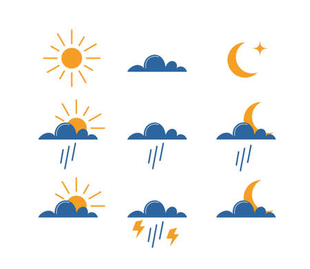 Weather icons set. Cute simple flat style icons for the weather forecast. Sun, Cloud, Moon, Rain, Lightning symbols. Vector illustration