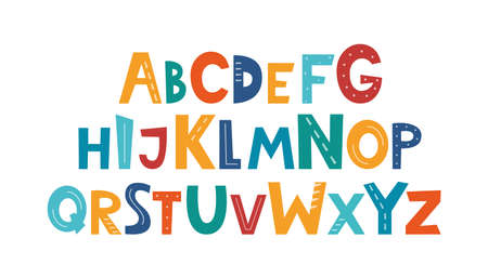 Cute hand drawn childish alphabet. Hand drawn ABC for poster, logo, greeting card, banner, children's room decor. Set of handdrawn letters, vector Vettoriali