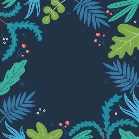Summer tropical vector design for banner or flyer with dark background. Flower frame for greeting card. Template for poster, greeting card, banner, print. Vector illustration