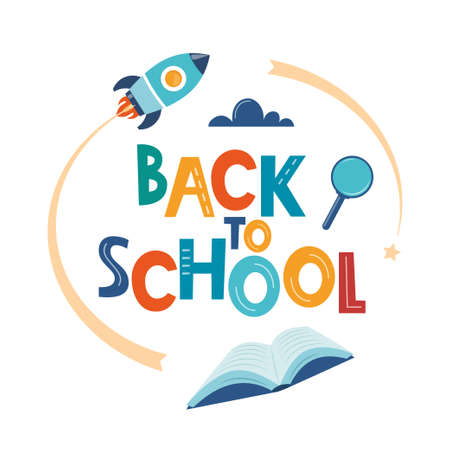 Back to school poster, banner. Lettering Back to school inscription with study supplies. Education concept design. Vector