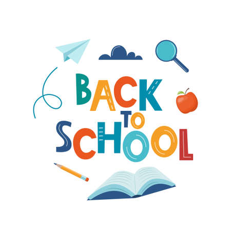 Back to school poster, banner. Lettering Back to school inscription with study supplies and paper airplane. Education concept design. Vector Vettoriali