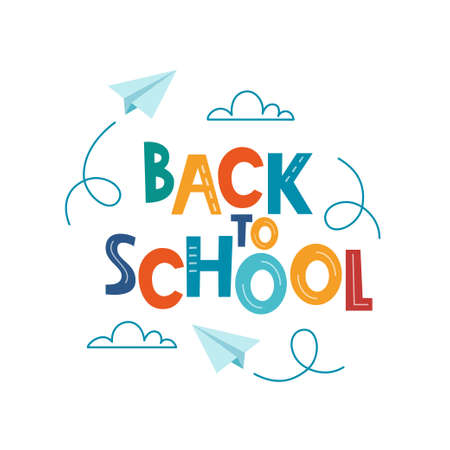 Back to school poster, banner. Lettering Back to school inscription with clouds and paper airplanes flying around. Education concept design. Vector
