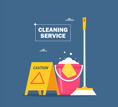 Cleaning service concept for web banner, infographic, poster. Slippery wet floor warning sign, bucket, mop, detergent. Vector illustration Vettoriali