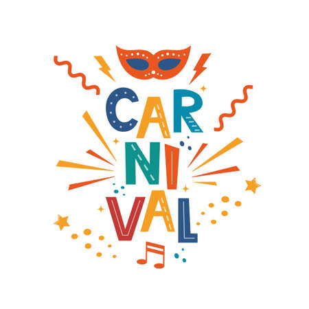 Carnival hand drawn lettering for poster, logo, invitation card, banner. Carnival poster with colorful party elements. Mask, confetti, stars and splashes. Festival concept design. Vector illustration