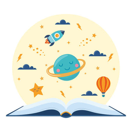 Open book and space elements. Planet, rocket, star, cloud, aerostat. Education concept for kids. Knowledge, creativity, discoveries. Design for educational motivational poster. Back to school Vector Vettoriali