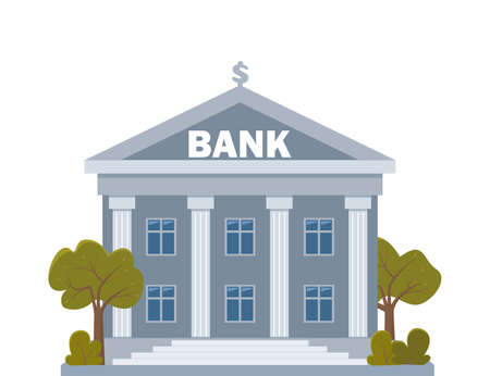 Bank building on a white background, bank financing, money exchange, financial services, ATM, giving out money. Bank facade with trees. Vector flat illustration Vettoriali