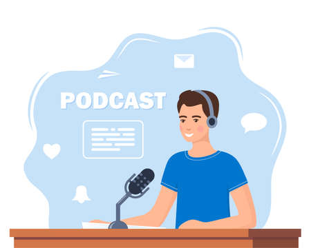 Man records a podcast in the studio. Men leading the broadcast on the radio station. Man in headphones speaks into a microphone in the studio. Broadcast. Vector illustration