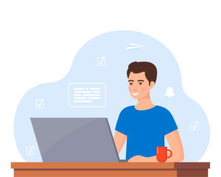 Young man working on laptop at home office. Freelancer at work, remote work. Young man sitting at a desk with a laptop and coffee cup. Flat style color modern vector illustration