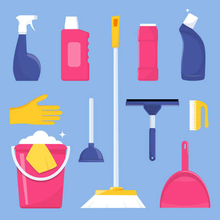 Cleaning tools and detergent for cleaning service web banner, poster design. Bucket, scoop, brush, washing powder, bottle of spray, sponge, glass scraper, rubber gloves. Vector illustration