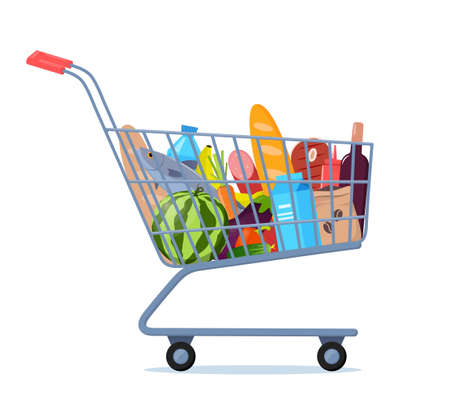 Shopping trolley full of food, fruit, products, grocery goods. Grocery shopping cart. Buying food in supermarket. Vector illustration for advertising banner, sale flyer Vettoriali