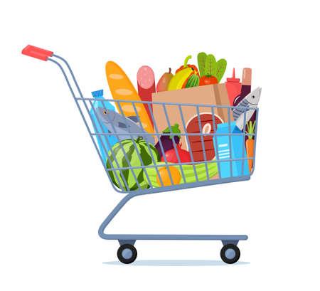 Shopping trolley full of food. Vector illustration.