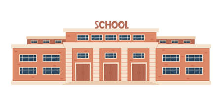 Modern School Building Exterior. Welcome Back To School. Educational architecture, facade of high school building with large windows. Design for flyer, banner, card. Vector illustration