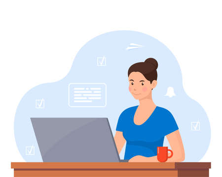 Young woman working on laptop at home office. Freelancer at work, remote work. Young woman sitting at a desk with a laptop and coffee cup. Flat style color modern vector illustration