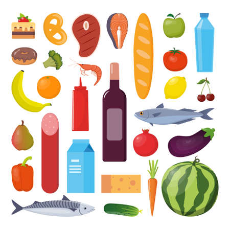 Grocery set. Milk, vegetables, meat, bread, cheese, sausages, wine fruits fish cereal juice Vector illustration flat design