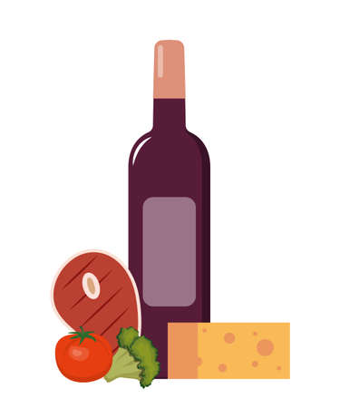 Red wine and grilled steak with vegetables. Set of products for dinner. Flat style vector illustration