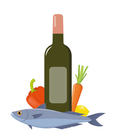 White wine and fish with vegetables. Set of products for dinner. Flat style vector illustration Vettoriali