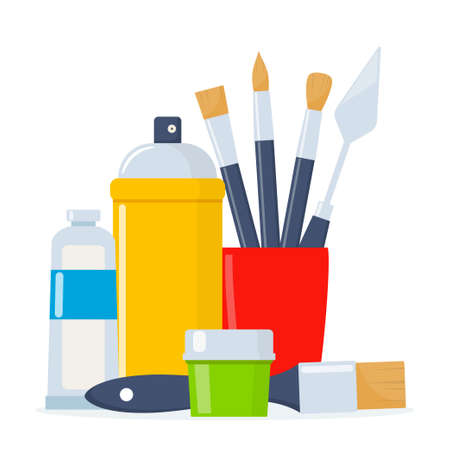 Painting tools composition. Various art supplies. Drawing creative materials illustration for workshops designs
