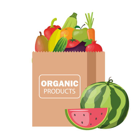 Paper package with fresh healthy products. Organic food from the farm. Vegetables and fruits. Food delivery. Vector flat illustration