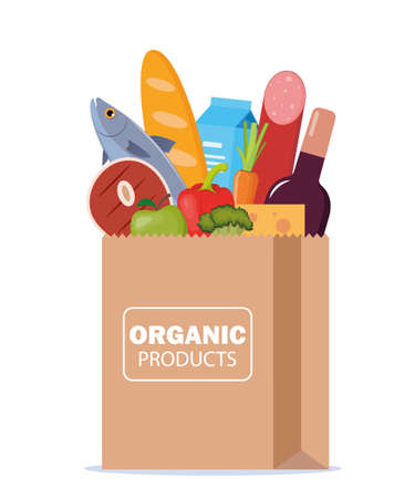 Paper package with fresh healthy products. Organic food from the farm. Vegetables, bread, dairy products, vine, meat, fish and fruits. Food delivery. Vector flat illustration