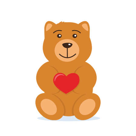 Cute Teddy bear holding big red heart in the paws. The concept of Valentine's Day. Flat vector illustration
