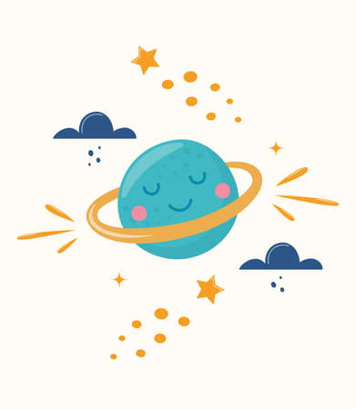 Cute planet character. Cartoon illustration for children's fashion fabrics, textile graphics, prints, cards. Colorful vector illustration
