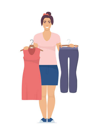 Smiling young woman holding hangers with trousers and dress. Choosing clothes concept. Vector illustration in flat style