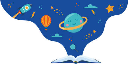 Open book and space elements. Planet, rocket, star, cloud, aerostat. Education concept for kids. Knowledge, creativity, discoveries. Design for educational motivational banner. Back to school Vector