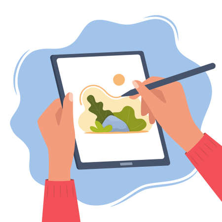 Designer illustrator draws a cute illustration on graphic tablet with pen. Hands holding tablet and stylus pen. Art creating, graphic design, digital drawing. Freelance 2D artist. Vector illustration