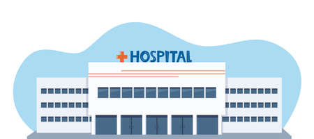 Hospital clinic building facade. Medicine, health care infrastructure, medic office. Vector illustration for advertising banner of medical center, insurance, medical services