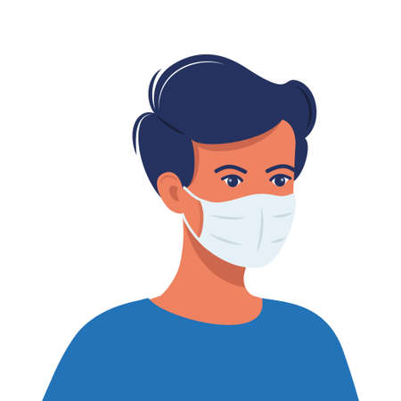 Man with protective medical mask on face for prevent virus. Human in surgical mask. Covid prevention. Vector illustration in flat style
