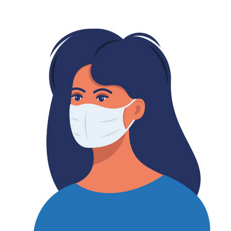 Woman with protective medical mask on face for prevent virus. Girl in surgical mask. Covid prevention. Vector illustration in flat style Vettoriali