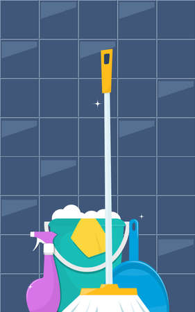 Tools for cleaning and housework. Floor sweeping brush, dustpan, bucket of water and soap suds. Cute flat style vector illustration Vettoriali