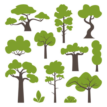 Big set of various green trees and bushes. Tree icons set in a modern flat style. Vector illustration
