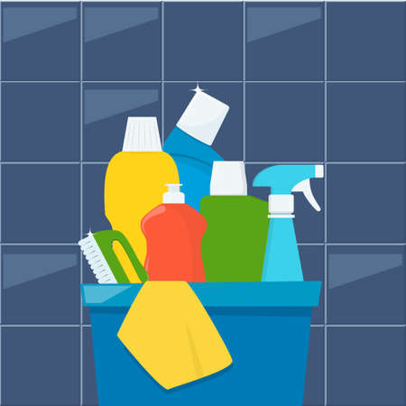 Bottles of detergents and cleaning products in a box, rag and cleaning brush. Cleaning services concept. Vector illustration, flat style Vettoriali
