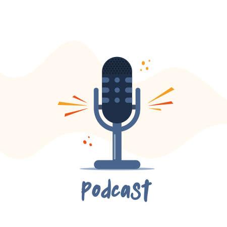 Podcast radio microphone vector concept. Webinar, online training, tutorial podcast illustration. Vector illustration