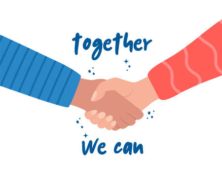 Shaking hands and phrase Together We Can. Teamwork, friendship, unity, help, equality, support, partnership, community, social movement, friendship concept Strong together Vector illustration