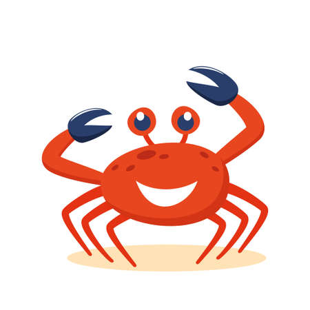 Cute cartoon red crab smiling character. Funny vector illustration for poster, logo, greeting card, banner, cute cartoon print