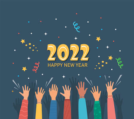 Raised hands of happy people celebrating New Year 2022. Crowd of people at party. People celebrate. Firecrackers, confetti, fireworks, carnival. New Year greeting card. Vector illustration Vettoriali