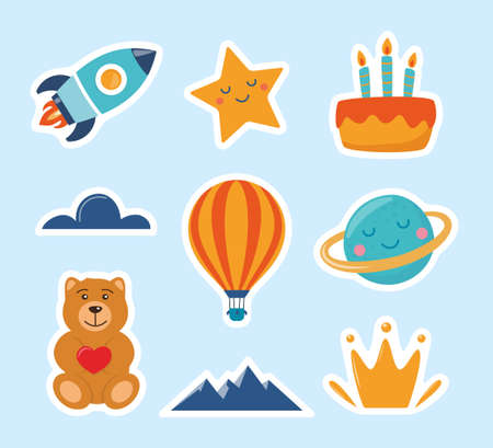 Cute kids stickers: rocket, star, planet, teddy bear, cloud, cake, aerostat. Cartoon illustration for children's sticker Colorful vector illustration Vettoriali