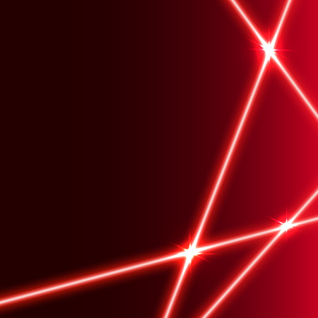 Vector  red  laser beam background with light  flares.