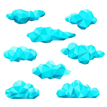 Blue clouds set. Abstract polygonal vector  background. Çizim
