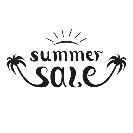 Summer sale  lettering with palm trees and sun.  Handwritten quote for banner or flyer  design. Vector illustration on white  background. Ilustrace
