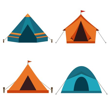 Camping tent vector icons isolated on white background. Set of tourist camp tents in orange and blue colors. Illustration
