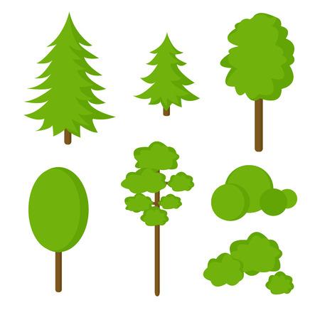 Trendy set van abstracte platte bomen en struiken geïsoleerd op een witte achtergrond. Vector illustratie.