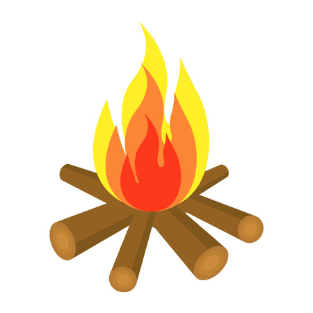 Bonfire  icon with  firewood and flame isolated on white background. Vector campfire illustration.